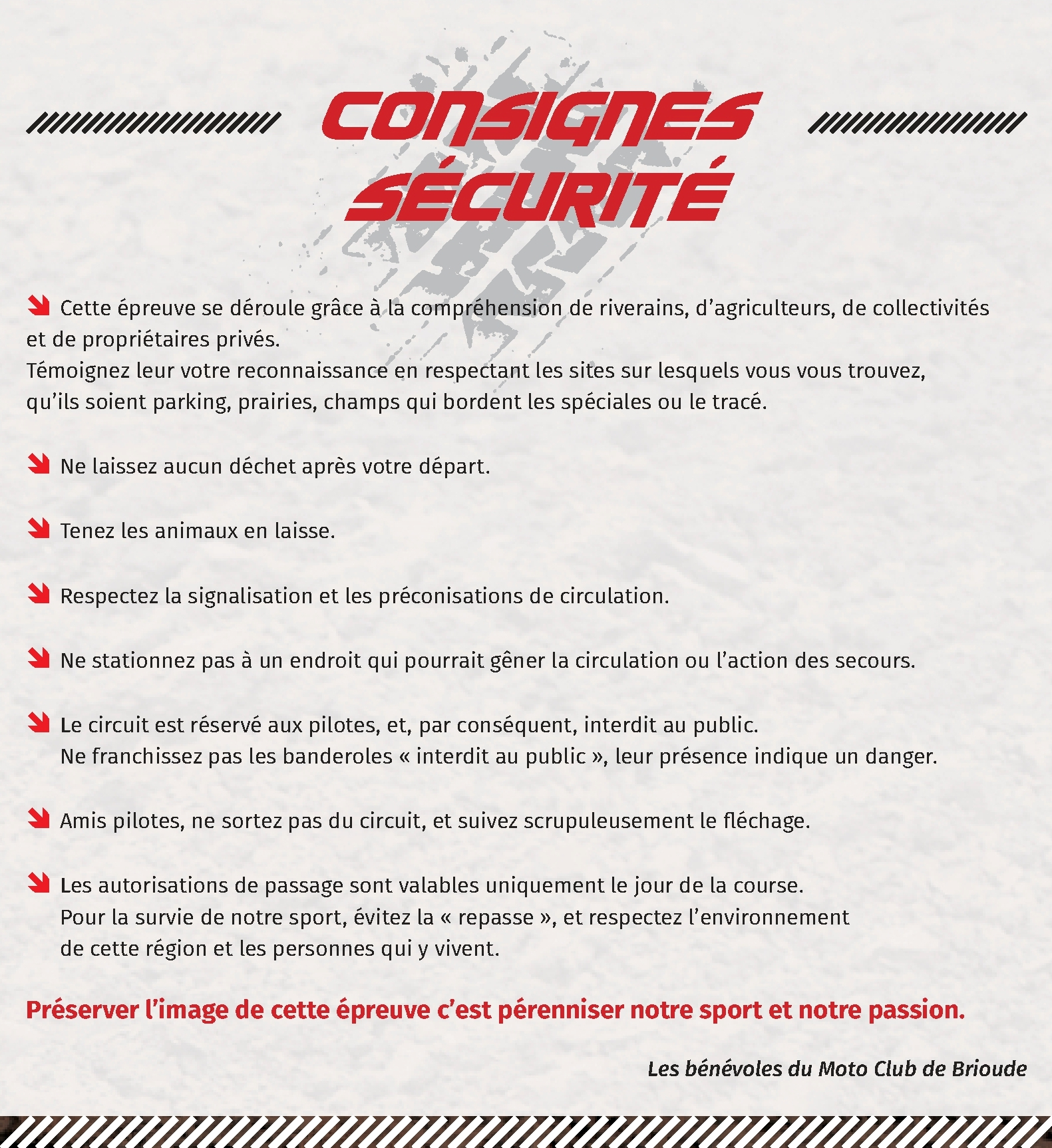 Consignes sécurité