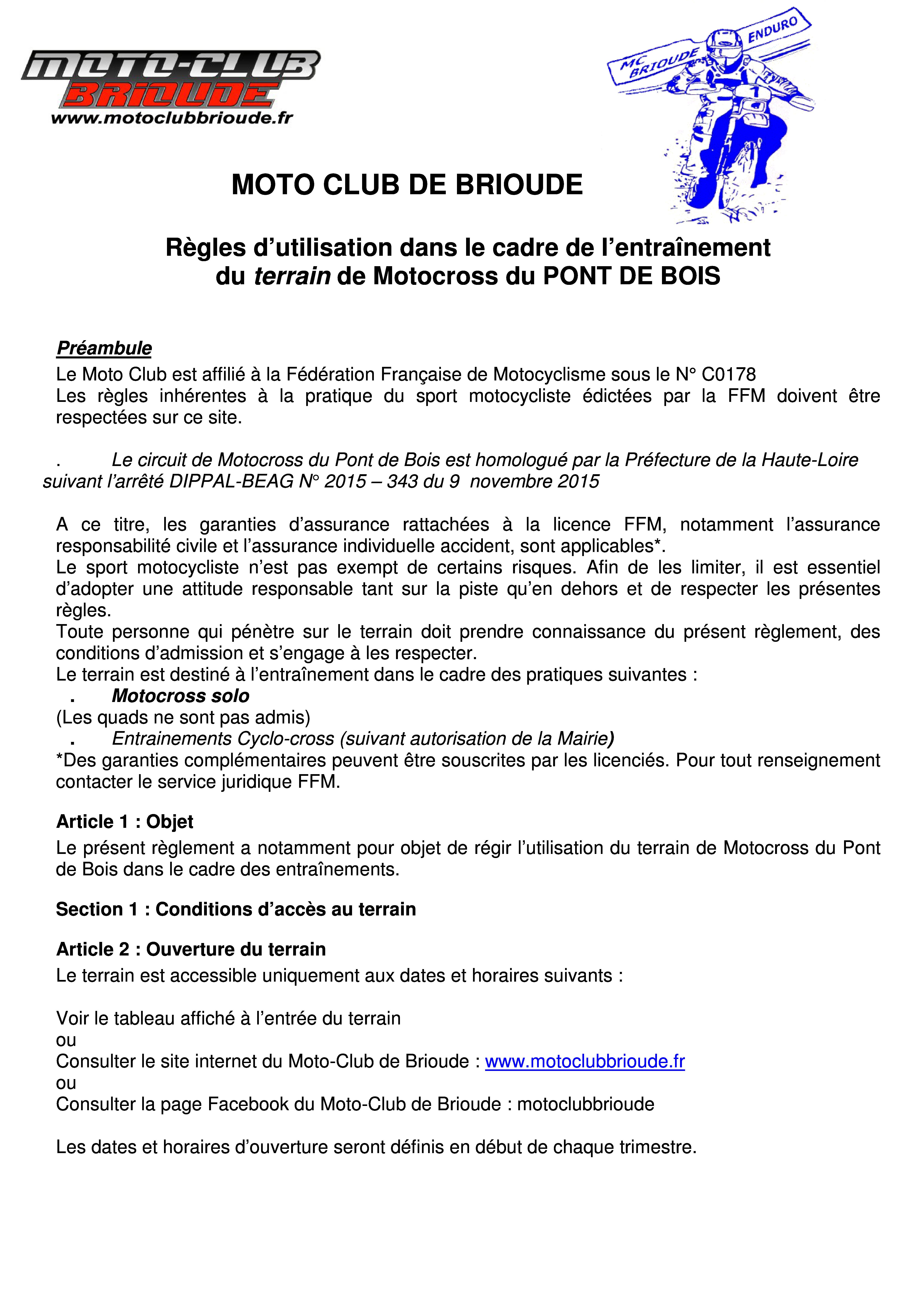 Réglement terrain de cross du Pont de Bois 2016