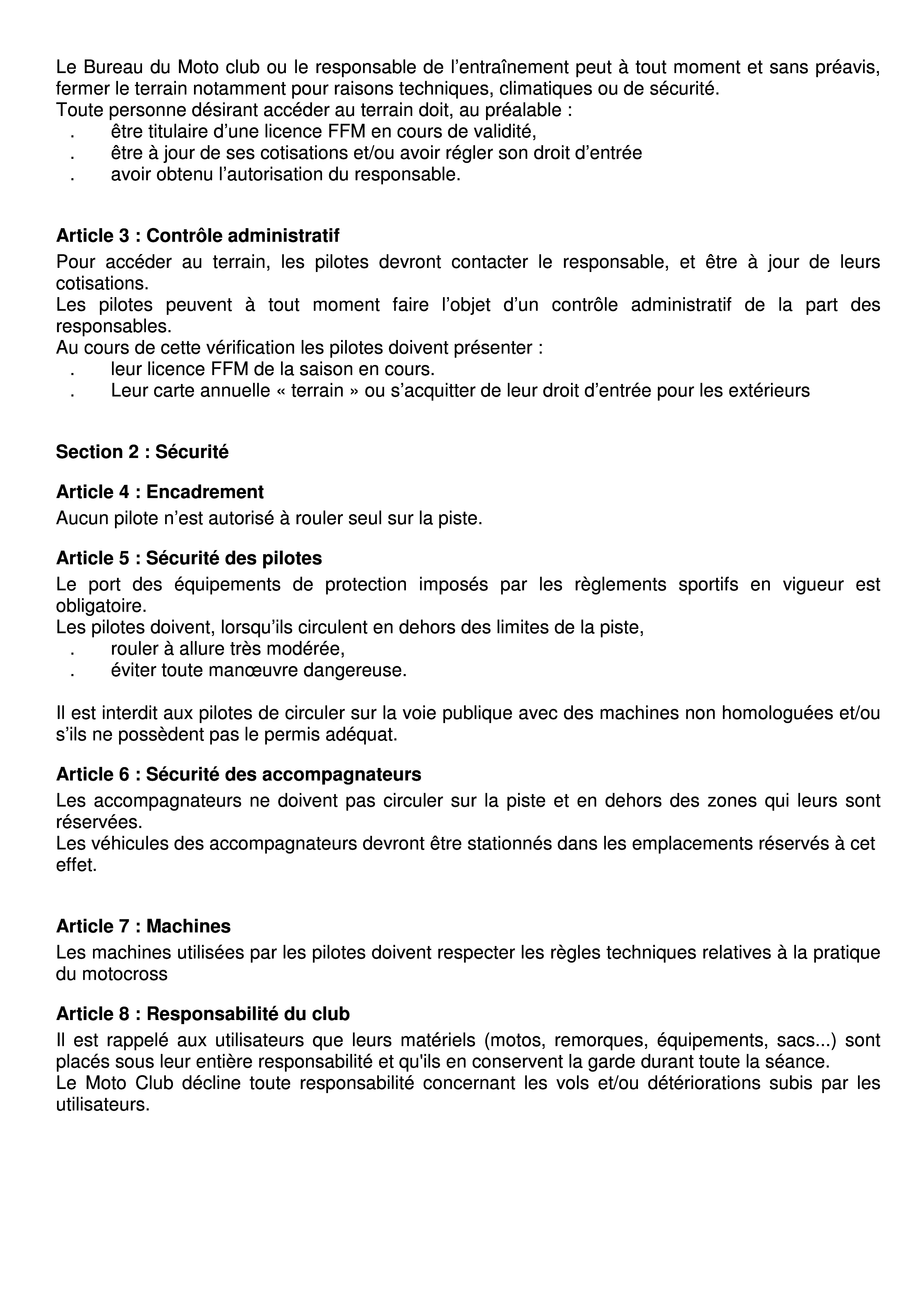 Réglement terrain de cross du Pont de Bois 20162