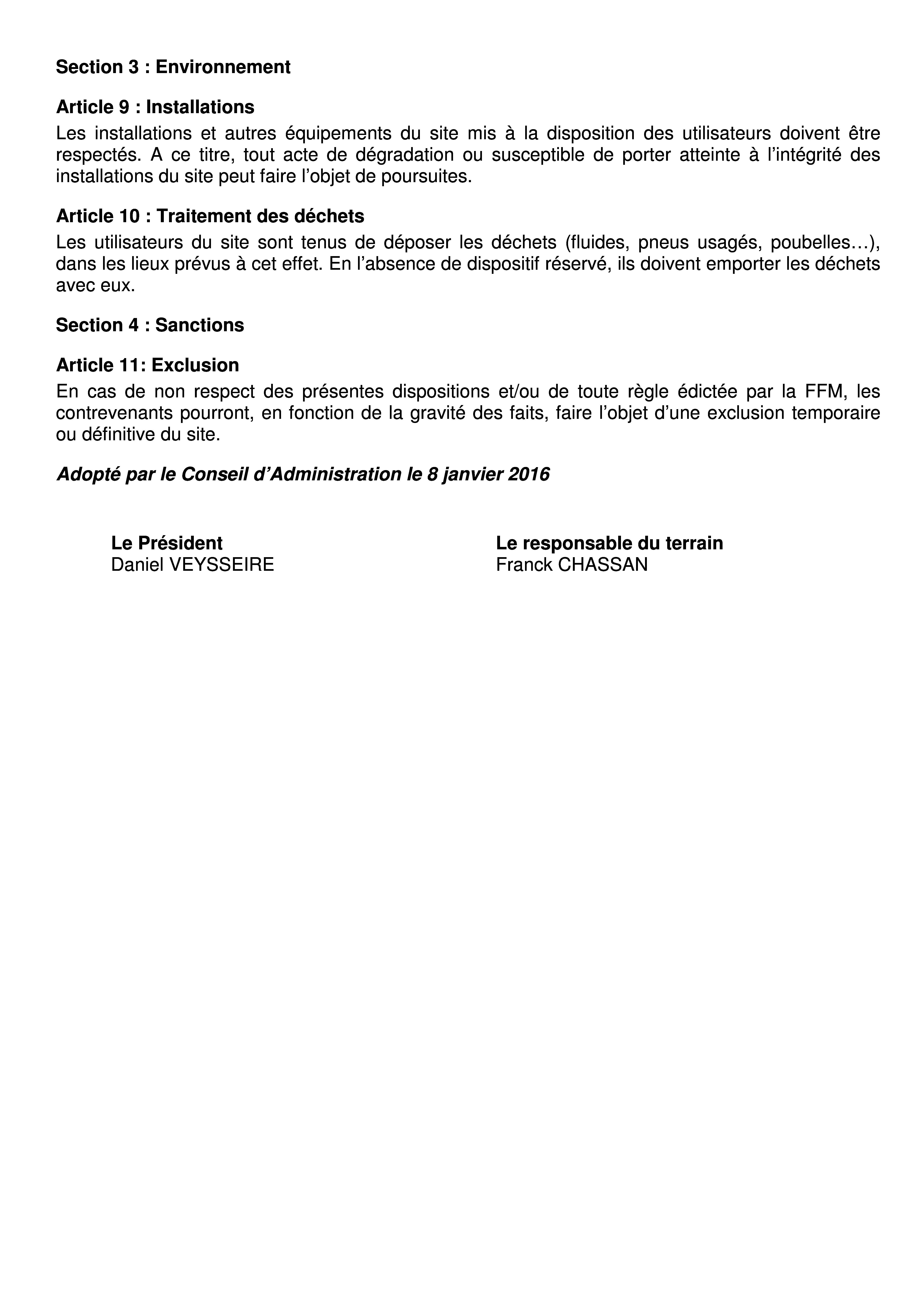 Réglement terrain de cross du Pont de Bois 20163